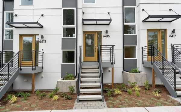 Front Door of 6415 14th Ave NW, One of the Oleana Townhomes in Ballard