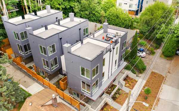 Aerial View of the Tremont Townhomes Located in the University District