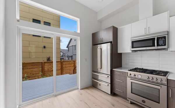 Deck Off the Kitchen at 3015C 30th Ave W, One of the Lochlan Townhomes by Isola Homes