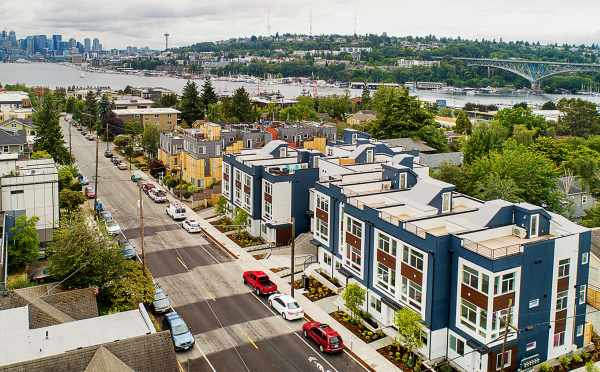 Aerial View of the Lucca Townhomes Looking Down Wallingford Ave N