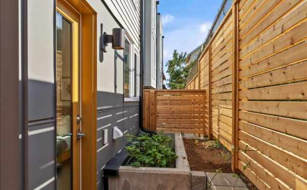 Patio off the First Bedroom at 6421 14th Ave NW, One of the Oleana Townhomes by Isola Homes