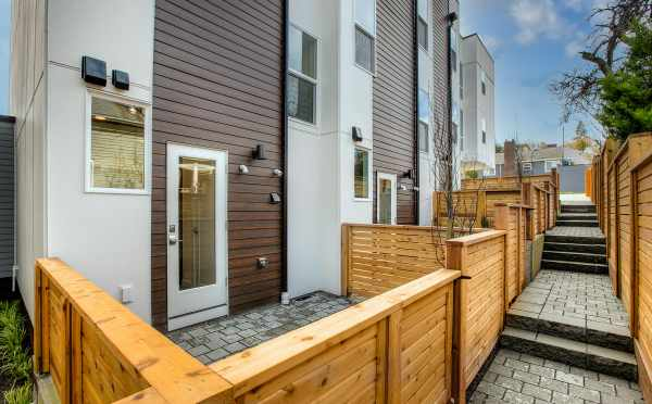 Fenced Patios at the Back of the Walden Townhomes in Magnolia