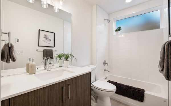 First-Floor Bathroom at 1113A 14th Ave, One of the Corazon North Townhomes