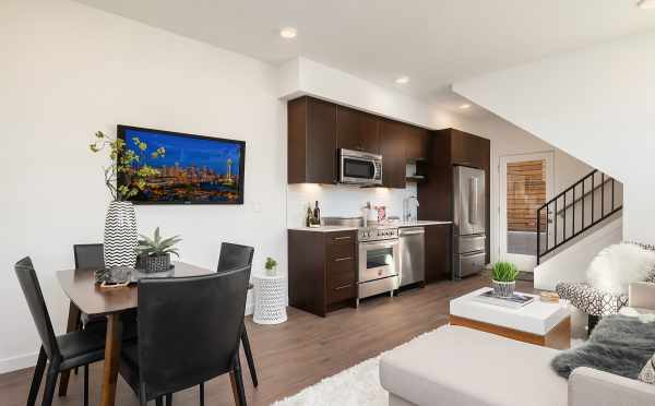 Dining Room and Kitchen of Unit F in Centro Townhomes