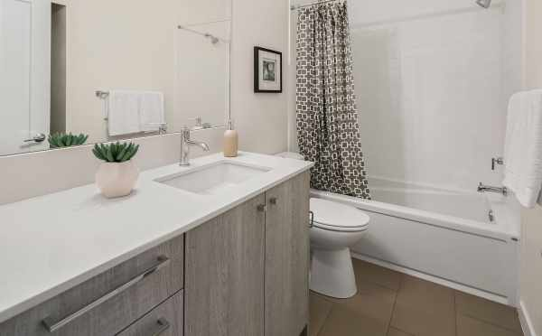 First Bathroom in One of the Hawk's Nest Townhomes at 1541B 14th Ave