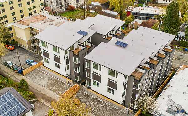 Aerial View of the Back of the Isla Townhomes by Isola Homes