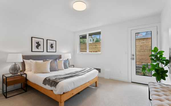 First-Floor Bedroom at 6415 14th Ave NW, One of the Oleana Townhomes by Isola Homes