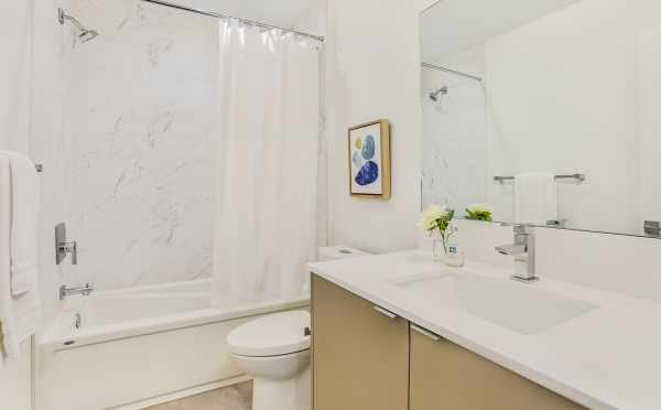 First-Floor Bathroom at 8364 14th Ave NW, One of the Thoren Townhomes in Crown Hill