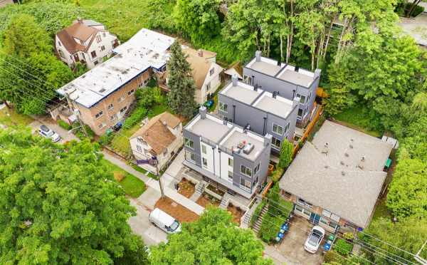 Aerial View of the Tremont Townhomes and Surrounding Buildings