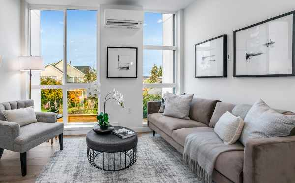 Living Room at 2310 W Emerson St, a Walden Townhome by Isola Homes