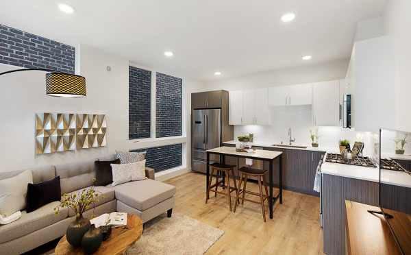 Kitchen, Dining, and Living Room in One of The Wyn Townhomes in Capitol Hill