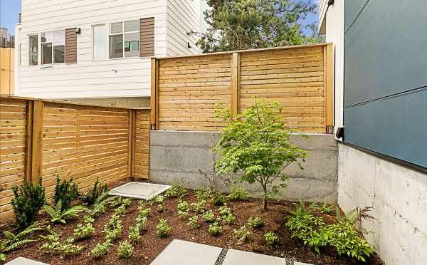 Backyard and Patio Area in One of the Lucca Townhomes at 3537 Wallingford Avenue N