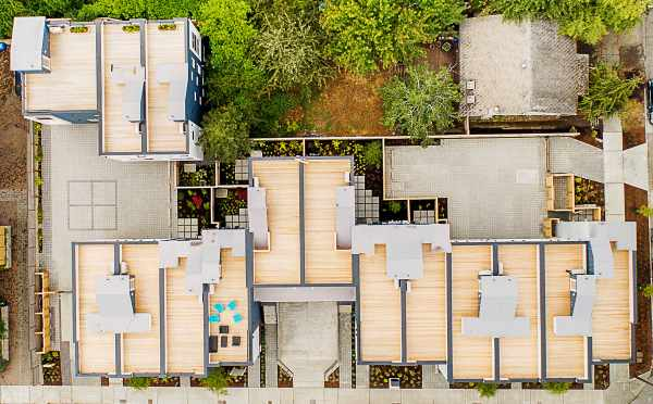 Overhead View of the Roof Decks at Lucca Townhomes