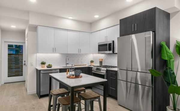 Kitchen and Dining Area at 1419 E Harrison St, One of the Mika Townhomes by Isola Homes