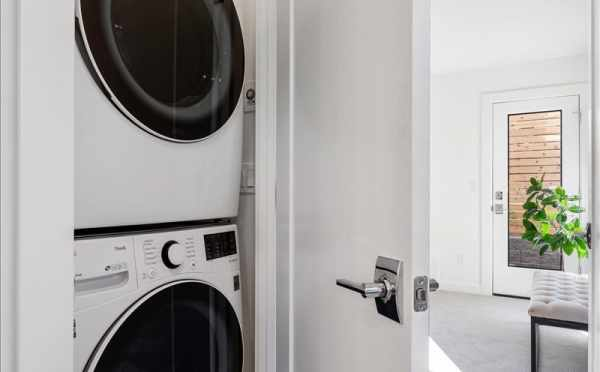 Laundry Area at 6421 14th Ave NW, One of the Oleana Townhomes in Ballard