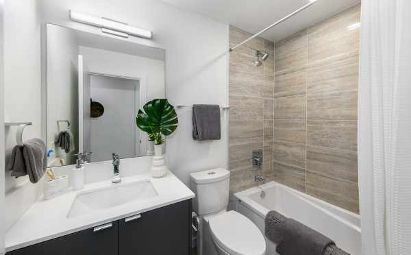 First-Floor Bathroom at 8509B 16th Ave NW, One of the Ryden Townhomes in Crown Hill