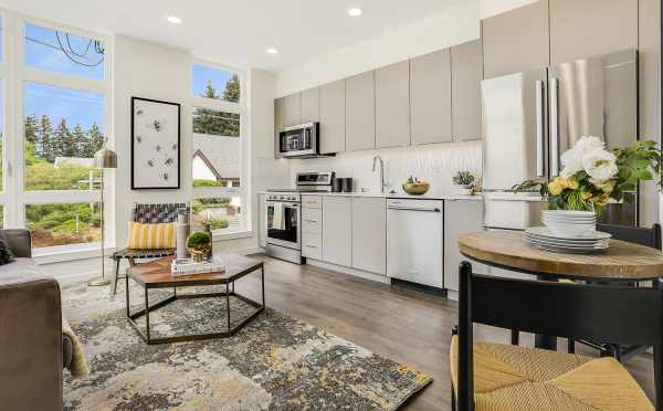 Living Room, Dining Area, and Kitchen at 8364 14th Ave NW