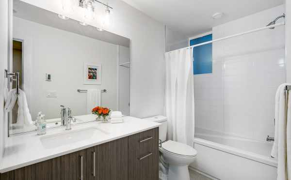 First Floor Bathroom at One of the Walden Townhomes by Isola Homes