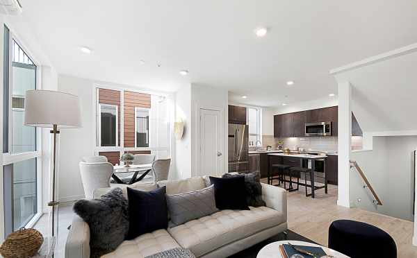 View of Living Room and Kitchen in 7528A 15th Ave NW, Townhome in Talta Ballard