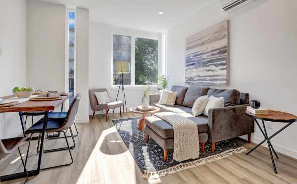 Living Room and Dining Area at 8505 16th Ave NW, One of the Alina Townhomes