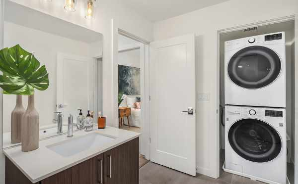 Stacked Washer and Dryer in the First-Floor Bathroom of 6539F 4th Ave NE