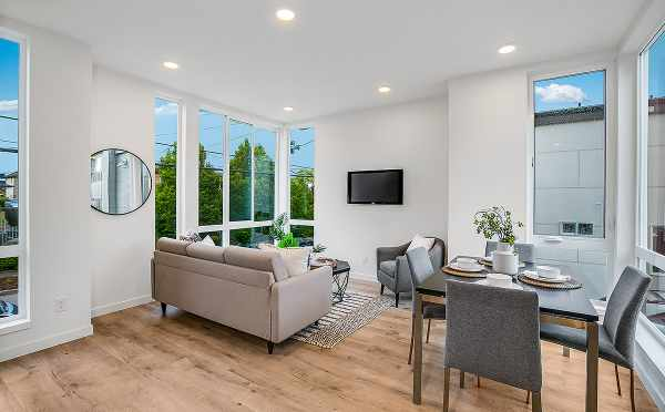 Living Room and Dining Room at 6111 17th Ave NW, in the Kai Townhomes