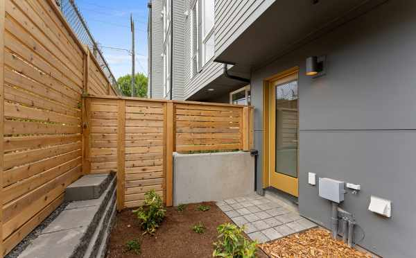 Patio Off the First Floor at 6415 14th Ave NW, One of the Oleana Townhomes in Ballard