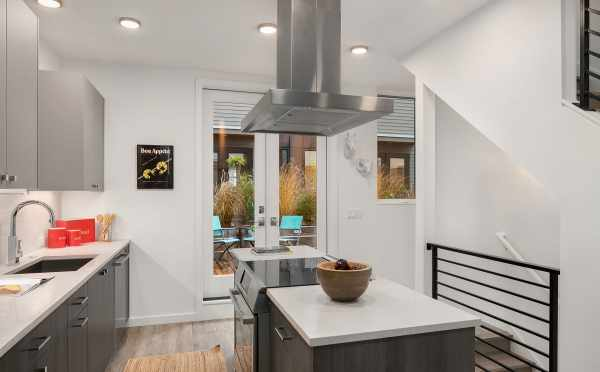 Kitchen and Semi-Private Deck of Unit 408A at Oncore Townhomes in Capitol Hill