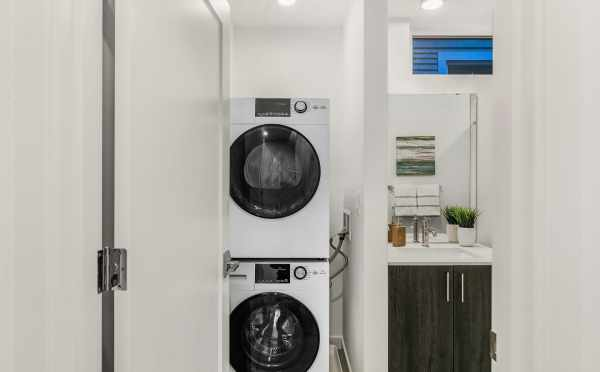 Washer and Dryer in the First-Floor Bathroom at 109A 22nd Ave E