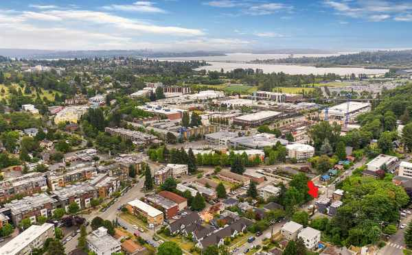 Aerial View of the Tremont Townhomes and Lake Washington