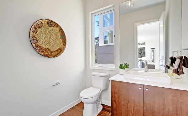 Powder Room on the First Floor of a New Home in Kirkland