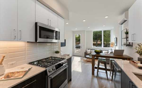 View from the Kitchen to the Living Room at 1730C 11th Ave, One of the Altair Townhomes by Isola Homes