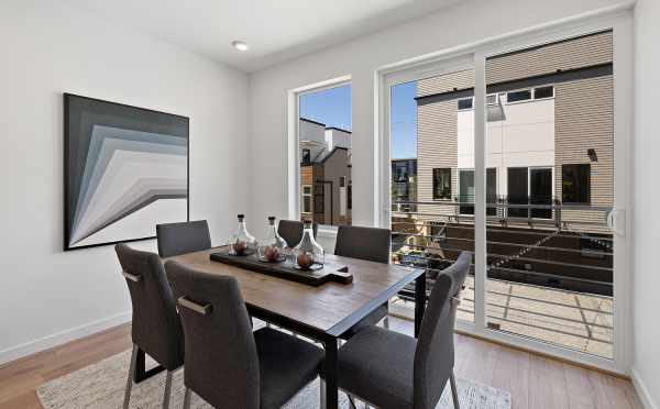 Dining Area and Deck at 212B 18th Ave, One of the Amber Homes in the Cabochon Collection