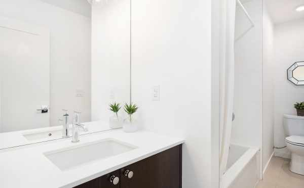 First Bathroom in Unit F of Centro Townhomes in Seattle
