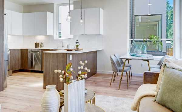 View from the Living Room to the Kitchen at 14339E Stone Ave N, One of the Maya Townhomes in North Seattle