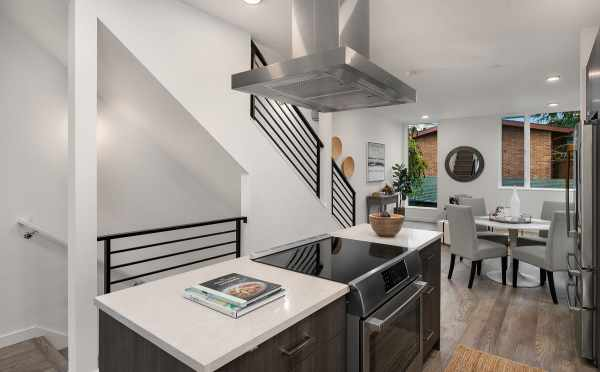 View of the Kitchen and Dining Room of Unit 408A at Oncore Townhomes in Capitol Hill