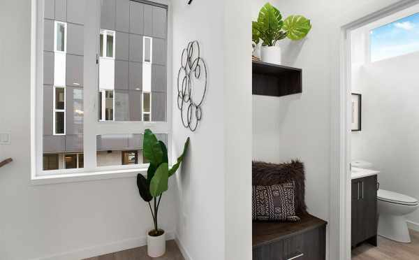 Built-In Seating and Powder Room on the Second Floor of 807 N 47th St of Sunstone at Fremont