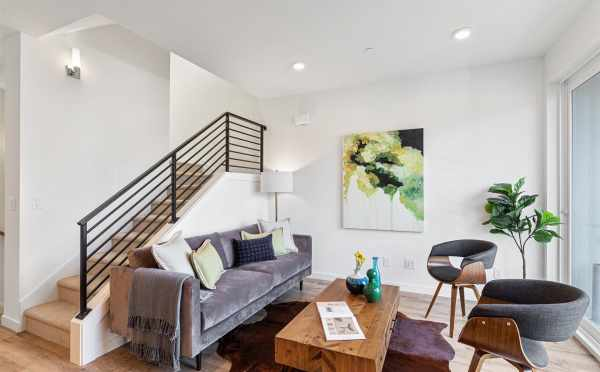 Living Room at 7213 5th Ave NE, One of the Verde Towns 3 Homes in Green Lake