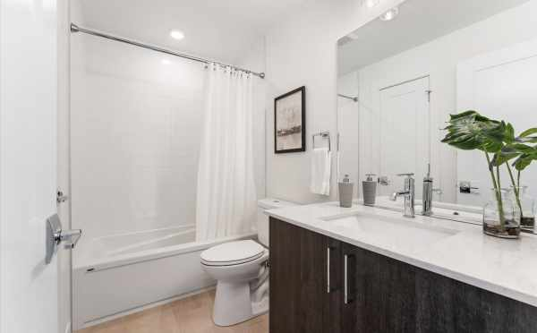 Second-Floor Bathroom at 1730C 11th Ave, One of the Altair Townhome by Isola Homes