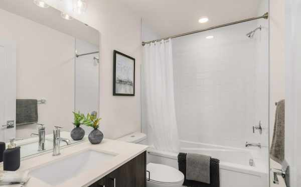 First Bathroom at 1419 E Harrison St, One of the Mika Townhomes