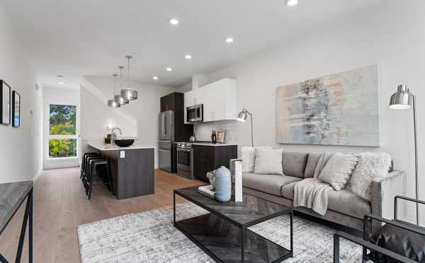 View from the Living Room to the Kitchen at 6415 14th Ave NW, One of the Oleana Townhomes