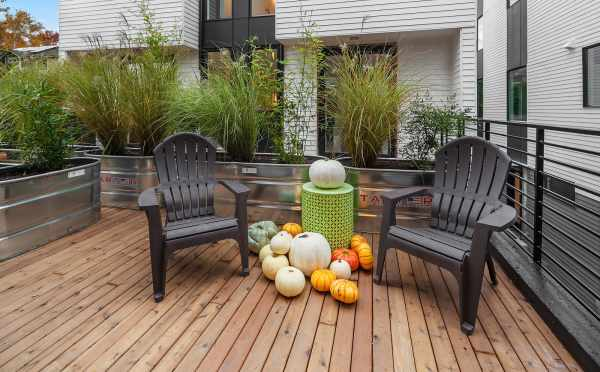 Semi-Private Deck Off the Kitchen in One of the Units of Oncore Townhomes