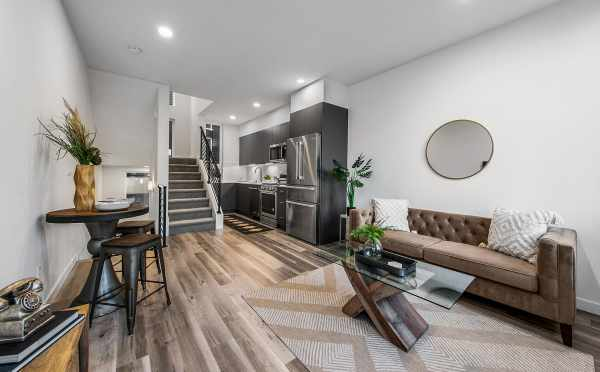View from the Living Room to the Kitchen at 8509B 16th Ave NW, One of the Ryden Townhomes