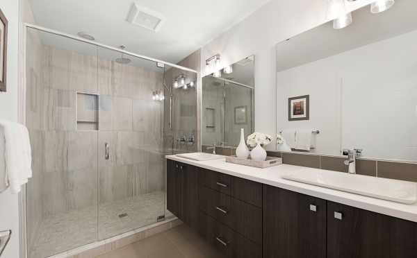 Master Bathroom in One of the Twin II Duplexes in East Queen Anne
