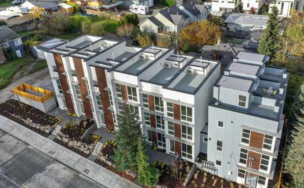 Aerial View of the Front and Roof Decks of the Walden Townhomes
