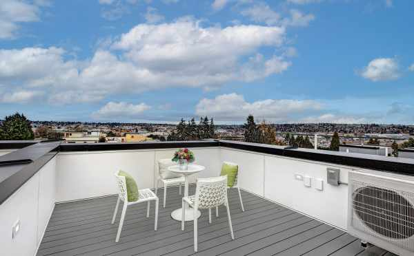Roof Deck at 2310 W Emerson St, One of the Walden Townhomes by Isola Homes