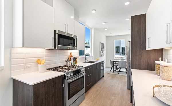 View from the Kitchen to the Dining Room at 224 18th Ave in the Cabochon Collection in the Central District