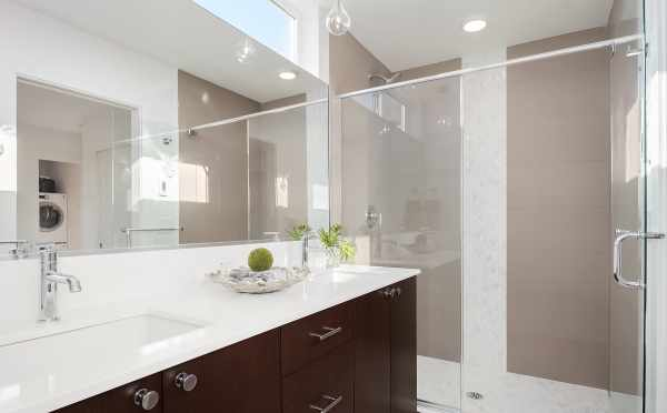 Master Bathroom in Unit F of Centro Townhomes