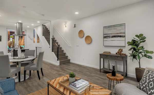 Living Room and Dining Area of Unit 408A at Oncore Townhomes