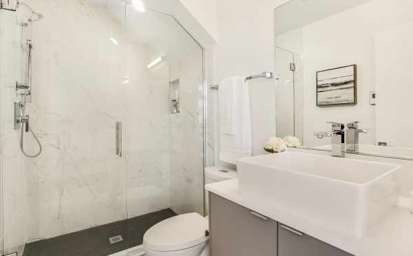 Owner's Suite Bath at 8364 14th Ave NW, One of the Thoren Townhomes in Crown Hill